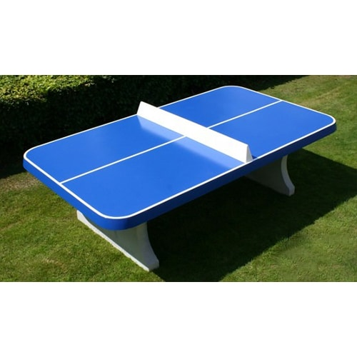 Table de ping pong beton bleue angles arrondis - Table ping pong exterieur beton ...